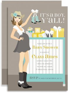 Cowgirl Boy Baby Shower Invitations @jan issues K. Pevahouse!