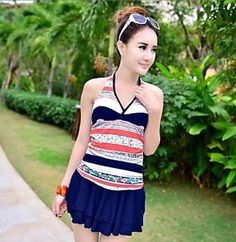 5aec4848e4 Deep-V Plus Size Floral Layered Ruffle Swim Dress One-Piece Swimsuit Uk For