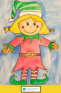 FREEBIE: How to Draw a girl elf. This is great for teachers in grades 2-6 (and even higher really)! Kids love to directed step-by-step drawing - this girl elf will be a hit!