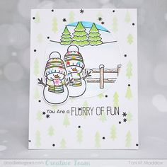 Doodlebugs: Tuesday with Toni: Flurry of Fun Tree Stencil, Stencils, Winter Cards, Holiday Cards, Sunnies Studios, Snowman Cards, Distress Oxides, Crafty Projects, Copics