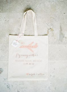 Welcome bags for a Mexico fête from http://shop.weddingchicks.com/welcome-tote-sets-of-20/