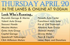 Join us in the lanes or online Thursday, April 20 with Reynolds Garage & Marine, Valenti Auto Group, Saccucci Honda, Messina Motors, Gates Auto Group, Capitol Garage, Speedcraft Volkswagen, C&A Millenium Motors, Pennells Auto Center, Frenchtown Auto Sales, Kia of Old Saybrook, Antonino Auto Group, Shannon Motors, Skiway Motor, Lease, Repo, and Donations!