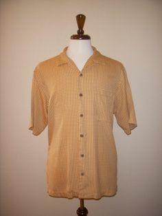 Tommy Bahama 100% Silk Rust Orange White Plaid Hawaiian Aloha Camp Shirt Medium