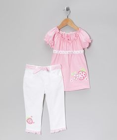 Take a look at this Pink Strawberry Ruffle Tee & White Pants - Girls by Young Hearts on #zulily today!