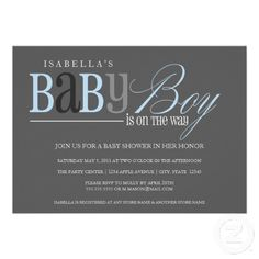 5 x 7 Baby Boy   Baby Shower Invite