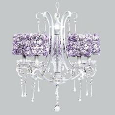 Jubilee Lavender Rose 5 Light White Colleen Chandelier by Jubilee. $738.00. Features lavender rose garden drum shades. Features 5 25-watt lights. For a little girls bedroom or nursery. Accented with crystals. This strikingly elegant 5 light white Colleen chandelier features lavender rose garden drum shades and hanging crystals throughout. We canÕt think of anything more charming than hanging this in a little girlÕs bedroom or nursery.