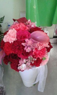 Dark reds and pink wedding bouquet.