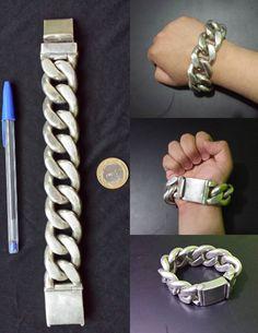 Pulseira de Prata Grumet 660g / Fat chunky silver bracelet / pulserón de plata tocho y gordo.