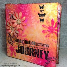 Richele Christensen: Journal with Dylusions Ink + tim holtz Distress Ink and paint californiaartgirl. Mixed Media Journal, Mixed Media Canvas, Mixed Media Art, Journal Covers, Art Journal Pages, Art Journaling, Altered Canvas, Altered Art, Altered Books