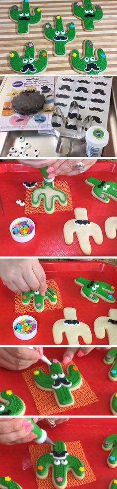 Cactus Cookies   DIY Cinco de Mayo Party Ideas Food Desserts   Easy Fiesta Party Ideas for Kids Mexican