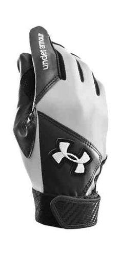 Women's Radar Softball Batting Glove $24.99.  HeatGear® on back of hand,  flex zones and finger gussets for superior moisture management and flexibility. Contoured wrist closure ensures a custom fit. #UnderArmour