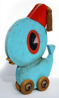 Pull toy Bird by Kathie Olivas and Brandt Peters