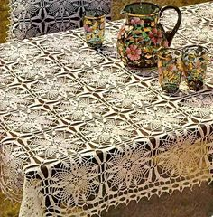 Скатерть-Crochet Art: Tablecloth And Pillow Cover - Crochet Tablecloth Free Pattern Crochet Tablecloth Pattern, Crochet Bedspread, Crochet Doily Patterns, Crochet Squares, Crochet Motif, Crochet Designs, Crochet Doilies, Crochet Throws, Art Au Crochet