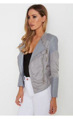 Bessy Biker Jacket Dove Grey - Outerwear - Clothing