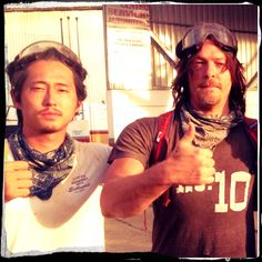 Steven Yeun and Norman Reedus in Costa Rica