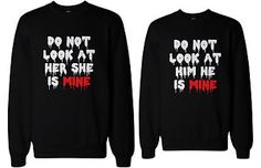 Do Not Look At Her or Him Scary Couple Sweatshirts. Do not look at her or him couple matching pullover fleece sweatshirts in black / Halloween haunt night couple outfits / 2 sweatshirts per order. Who's scarier than Halloween ghosts? Matching Couple Outfits, Matching Couples, Matching Sweaters, Matching Shirts, Cute Couple Hoodies, Bae, Funny Sweatshirts, Cute Shirts, Bff Shirts