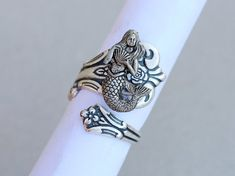 Mermaid Antique Spoon Ring, Silver Spoon Ring,Antique Ring,Silver Ring,Wrapped,Adjustable,Bridesmaid. on Etsy, $26.99
