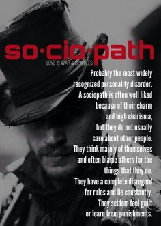 The Sociopath, also known as a psychopath or as having an anti-social personality disorder is a callous, remorseless, self-centered individual with no empathy.I am the most empathetic. He chose his victim well. love this Pin Thanks Abuse Narcissistic Sociopath, Narcissistic Personality Disorder, Sociopath Traits, Narcissistic Behavior, Narcissistic People, Narcissistic Mother, Trauma, Ptsd, Abusive Relationship