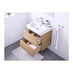 GODMORGON / BRÅVIKEN Kommod med 2 lådor - vitlaserad ekeffekt - IKEA