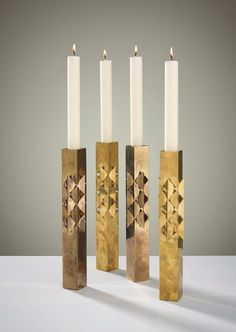 Pierre Forsell; Brass Candle Holders for Skultana, 1960s.