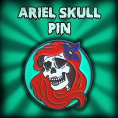 """Wouldn't you think I'm the girl. Girl who has everything."" Ariel Skull Enamel pin releasing at the Bats Day Black Market this Saturday April 30th! Online sales will start Monday May2nd.  The skulls are back and in larger numbers  Thank you skull friends! by artbysarax"