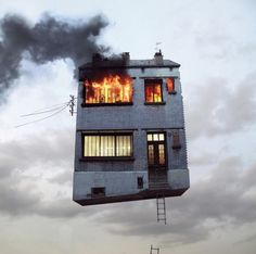 A picture from Laurent Chehere's series called Flying Houses.