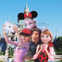 i love this pic Punk Disney, Disney Nerd, Disney Parks, Disney Crossovers, Disney Movies, Disney Characters, Disney Princesses, Frozen And Tangled, Elsa Frozen