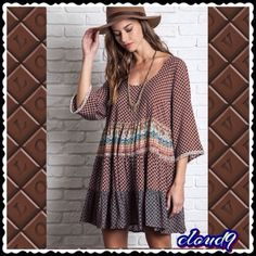 """❌TEMP CLOSED❌ Bohemian Bliss Tunic Dress Brand new with tag. Gorgeous variety colors. It have open tie design style back. High low hem. 65% cotton and 35% polyester. Measurement laying flat: bust: 20"""" length: front: 32""""/back: 34"""" Umgee Dresses"""