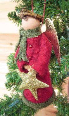 Angel Christmas Ornament Clothespin Winter by ModerationCorner