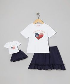 Take a look at this Navy American Princess Skirt Set & Doll Outfit by 4EverPrincess on #zulily today!
