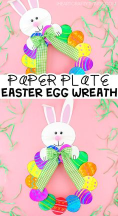 How to Make a Paper Plate Easter Egg Wreath - This colorful paper plate Easter W. - How to Make a Paper Plate Easter Egg Wreath - This colorful paper plate Easter W.How to Make a Paper Plate Easter Egg Wreath – This colorful paper plate Easter Wreath is Bee Crafts For Kids, Easter Art, Bunny Crafts, Easter Crafts For Kids, Kids Diy, Easter Ideas, Children Crafts, Easter Eggs, Paper Plate Crafts