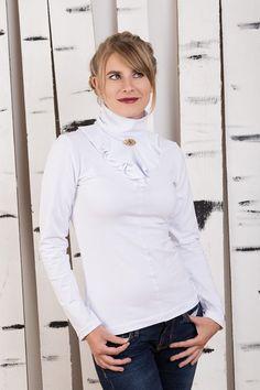 "Longsleeves - Shirt ""Steffi"" weiss - ein Designerstück von Bergluft bei DaWanda Turtle Neck, Blouse, Long Sleeve, Tops, Sleeves, Sweaters, Women, Fashion, Women's T Shirts"