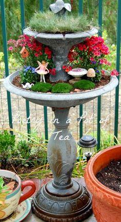 Poetry In A Pot Of Tea: tiered fairy garden