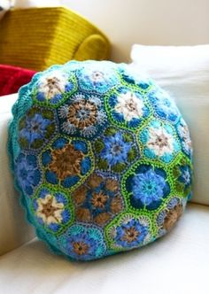 Crochet Turquoise Mix Cushion by Moxy
