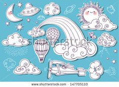 Doodle Elements: Sky, with sun, moon, stars, rainbow and clouds, and including flying saucer, biplane and hot air balloons - stock vector