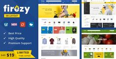 Buy firezy - Multipurpose WooCommerce Theme by TemplateMela on ThemeForest. Firezy is WordPress ecommerce theme based on WooCommerce plugin. It is suitable for fashion design, clothes, lingeri. Website Design Inspiration, Design Blog, Diy Design, Wordpress Plugins, Wordpress Theme, Ecommerce, Themes Free, Themes Themes, Home Accessories Stores