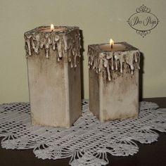 decoupage Serwin - Szukaj w Google Primitive Crafts, Wood Crafts, Hot Glue Art, Decopage, Birch Branches, Wooden Candle Holders, Christmas Wood, Bottle Art, Crafts To Sell