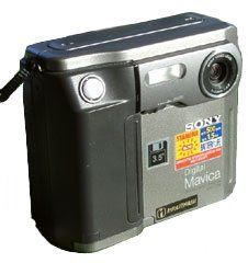 "Sony Mavica FD-5 (1997) One of the first digital cameras to come on the market. Took a 3.5"" Floppy Disk. RRP US $599"
