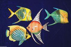 "(4) 6"", SEAFOOD RESTAURANT DECOR, TROPICAL FISH, TIKI BAR DECOR F146,149,147,205"