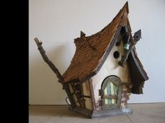Whimsical one of a kind birdhouses and fairy houses Wooden Bird Houses, Witch House, Fairy Houses, Model Homes, Bird Feathers, The Hobbit, Diy And Crafts, Whimsical, Backyard