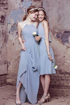 Powder blue mix and match bridesmaid dresses