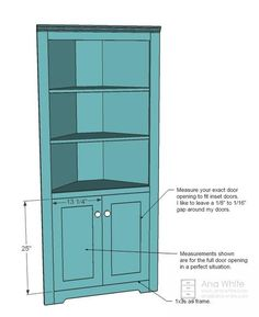 Ana White Build a Corner Cupboard Free and Easy DIY Project and Furniture Plans Corner Hutch, Corner Cupboard, Corner Shelves, Kitchen Corner, Corner Cabinets, Corner Cabinet Living Room, Corner Bar, Corner Pantry, Art Corner
