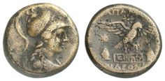 PHRYGIA, Apameia, bronze 21, approximate 148-133 BC, Aversum: helmeted Athena to the right, reverse: eagle lands to the right on meander platform, left and right hats the Dioscuri, three stars, compare SNG Munich 110-1, SNG Cop. 164.9. 15 g, very fine    Dealer  Auction house Ulrich Felzmann    Auction  Minimum Bid:  100.00EUR