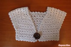 Bolero in Häkelanleitung – Baby Kleidung Crochet Bolero Pattern, Gilet Crochet, Crochet Jacket, Crochet Blouse, Knit Crochet, Freeform Crochet, Crochet Girls, Crochet For Kids, Crochet Baby