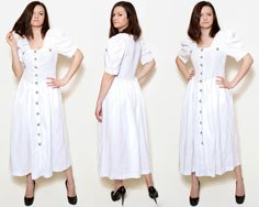 Vintage white traditional dress.  The model on the pictures is size S/36 and 165 cm height. Please check measurements with your own to avoid problems with the size. Make sure you double the measurements where shown (*2):  Label size: XXL/44 Total lenght: 119.5 cm / 47 inches Shoulder to bottom: 117 cm / 46 inches Armpit to bottom: 98 cm / 38.5 inches Armpit to armpit: 43.5 cm *2 / 17.1 inches *2 Waist: 41 cm *2 / 16.1 inches *2 Bottom Width: 115 cm *2 /...