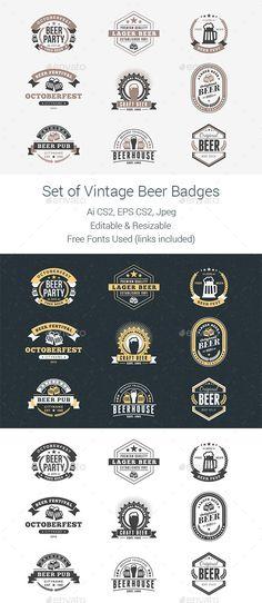 Set of Vintage Beer Badges - Badges & Stickers Web Elements