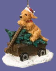Golden Retriever Tree Wagon Ornament