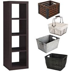 Better Homes and Gardens 4-Cube Organizer with Optional Storage Bins, Multiple Options - Walmart $48  Turn on its side and hang at the top of mudroom above coat racks