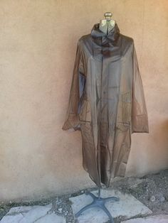 Vintage 1960s Raincoat Gray Vinyl Large Mens Womens by bycinbyhand, $65.00