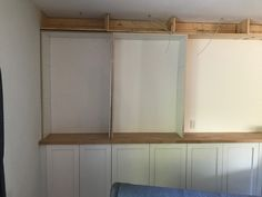 All about how we DIY'd our built in bookshelves using IKEA cabinets. Home Office Cabinets, Ikea Cabinets, Built In Cabinets, Custom Bookshelves, Bookshelves Built In, Bookcases, Bin Store Garden, Built In Shelves Living Room, Stair Paneling